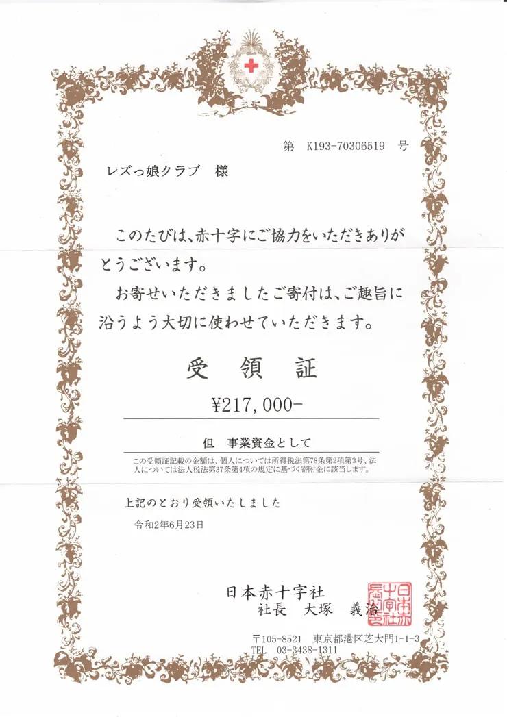 日本赤十字社に寄付させていただきました。